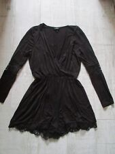 TOPSHOP Playsuit SHORTS Ladies UK 10 BLACK with LACE Trim Beautiful