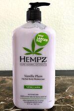 Hempz VANILLA PLUM Herbal Body Moisturizer Hydrate + Soothe 21 fl oz New