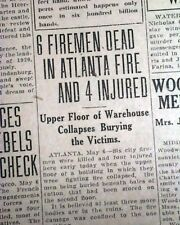 DECATUR STREET FIRE Jass Manufacturing Co. Atlanta FIREMEN Killed 1925 Newspaper