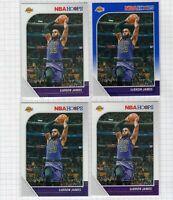 (4 LOT) 2019-20 LeBron James Panini NBA Hoops Blue #87 Lakers Card SKU 002