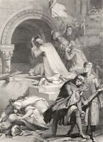 GODGREY OF BOUILLION CHURCH HOLY SEPULCHRE JERUSALEM ~ 1882 Art Print Engraving