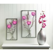 Floral Wall Candle Wall Sconce w/ Magenta Glass Candle Holders 1 Small & 1 Large