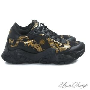 NIB Versace Jeans Couture Black Leather Mesh Gold Barocco Chunky Sneakers 42 NR