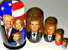 "4 1/3"" 5p NESTING DOLL USA PRESIDENT TRUMP MELANIA BARRON IVANKA rus MATRYOSHKA"