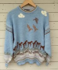 Vintage dogs/ducks pattern wool Jumper by Clover Casuals. Blue/neutrals Large