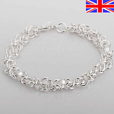 Ladies 925 Silver Bracelet Chunky Chain Link Charm 8 inch Free Gift Bag