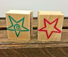 Pair Of Hearts Small Outline Star / Spiral Hero Arts Rubber 2 Stamp Wood Mount