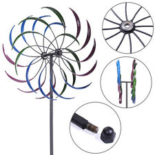 "79"" Metal Double Spiral Wind Spinner Yard Stake Lawn Art Garden Decor"