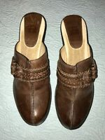 Frye Cheryl Brown Leather Wood Clogs Mules Heels Brass Slip On 70055 Sz 10 EUC