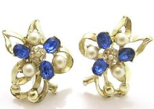 Big Abstract Floral Blue Clear Rhinestone Vintage Gold Plated Sbk Earrings*A424