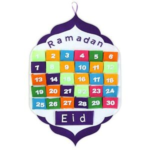 White & Purple Ramadan Muslim Islamic Advent Calendar with Multicolour Pockets