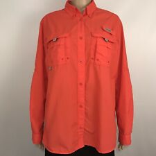 Columbia Pfg Womens Shirt Performance Fishing Gear Vented Orange Red Size L