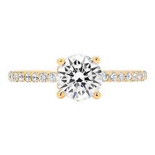 1.34ct Redondos Casamento corte anel de Noivado prometam Solitaire sólido ouro Amarelo 14k
