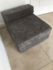 Grey MemoryFoam Jumbo Cord Single Chair Sofa Z Bed Seat Foam FoldOut Futon Guest