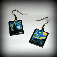 Handmade Polymer Clay Vincent Van Gogh Starry Night Earrings