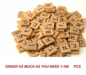 1-100 PC WOODEN SCRABBLE TILES BLACK LETTERS NUMBERS FOR CRAFTS WOOD ALPHABETS