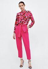 3f4a3ea1 NWT Zara Women Paperbag Trousers Fuschia Pink XS Pants 1608/031 New Rare  SS18