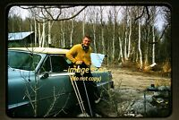 1950's Man Skier in California & Car skiing, Original Kodachrome Slide d7b