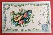 CPA. 1905. MANDOLINE. Musique. Gaufrée. Embossed. Fleurs. Ruban. Roses.