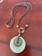 JADE DISK PENDANT adjustable NECKLACE with CARVED CARNELIAN BEAD and Coin, RG