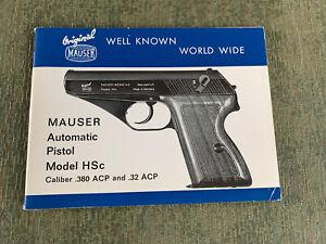 Vintage Mauser Automatic Pistol Model HSc 380acp & 32acp Gun Owners Manual