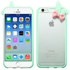 """iPhone 6 (4.7"""") Hybrid Gummy Cover w/Bunny Ears Transparent Back Case"""