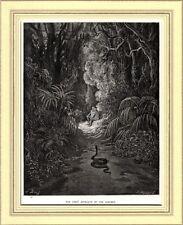ADAMO, EVA E IL SERPENTE. Di Gustave Doré. Da John Milton: Paradiso Perduto.1890