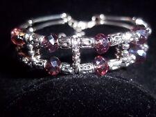 Hot Tibet Silver Fashion Jewelry Purple Crystal Bead Bangle Bracelet B-56