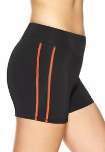 Hue Sport Shorts Sz M Black Coral Trim Poly Blend Athletic Sport Short U13828