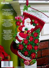 "Bucilla Santa Poinsettia Tree ~ 18"" Felt Christmas Stocking Kit #86142 Flowers"