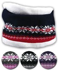 Ladies Womens Girls Fairisle Rockjock 2 in 1 Fleece Lined Snood Neck Warmer Hat Black