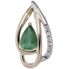 Anhänger 585 Gelbgold bicolor 6 Diamanten Brillanten 1 Smaragd grün Goldanhänger