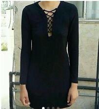 Brandy Melville black long sleeve ribbed lace up dress S/M