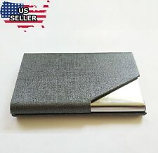 Pocket Stainless Steel leather Business Card Holder Case ID Credit Wallet Grey