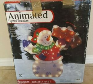 Snowman (30 Inches) Animated Lighted Sculpture Indoor Outdoor Christmas Decor