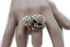 Women Gold Metal Ring Fashion Jewelry 2 Skeleton Skulls One Size Bones Pirate