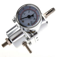 Universal Car Adjustable Fuel Pressure Regulator with Gauge Silver R3G2