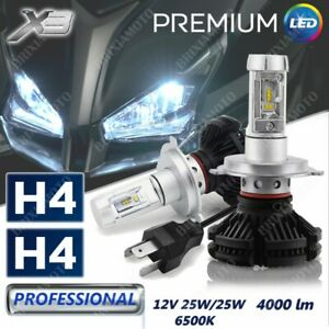 FRONT LIGHTS H4 2 BULBS LED X3 12V 8000 LUMEN FOR MOTO GUZZI STELVIO 10/'13