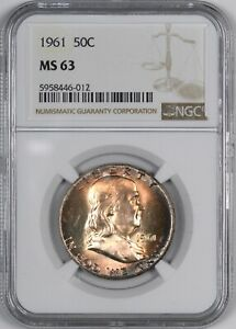 1961 Franklin Silver Half Dollar Pretty Toning 50C - NGC MS63 -