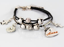 Genuine Braided Leather Charm Bracelet With Name - ANNA - Gifts for her