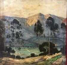 quadro dipinto a mano ad olio su tela paesaggio di montagna montano monti antico