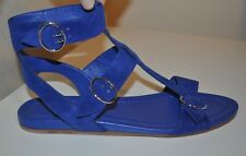 NEW $690+ PRADA Blue Ankle Strap Flat Sandal Shoe Suede Leather Sz 39.5 / 9.5