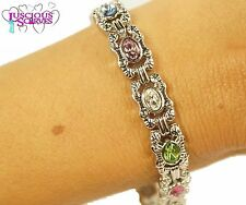 LADIES SUPER STRONG BIO MAGNETIC SILVER ALLOY HEALING BRACELET WITH MULTI STONES