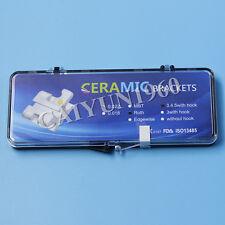 100PKS Dental Ortho Square Ceramic Bracket MBT 022 Slot 345Hook Mesh Base CE&FDA