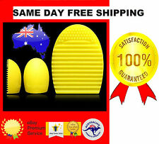 YELLOW GOLD SILICONE BRUSH EGG CLEANING GLOVE 1PC MAKEUP COSMETIC TOOL BOARD*