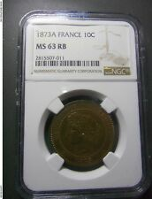 10 CENTIMES 1873 A FRANCE NGC MS 63