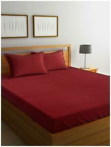 MARKHOME Cotton Striped Queen Size Bedding Set-AqC