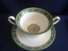 Wedgwood Runnymede green soup cup / bowl & saucer (small flaw on saucer)