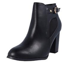 Wallis Aaliyah Womens UK 8 EU 41 Black Block Heeled Zip Up Ankle Boots FREEPOST