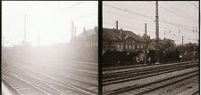 2 x Eisenbahn Negativ DR Dampflok am Bahnhof    ( 46